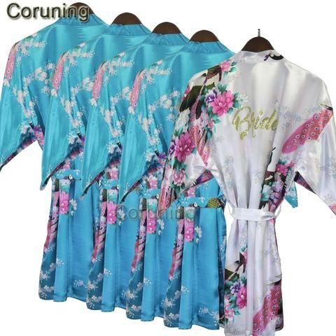 RB033 2018 Bridal Gold Letter Wedding Robe Pink Flower Print Women Robes  Bathrobe Sexy Charming Kimono Sleepwear Bridesmaid Gift 96f751a775dd