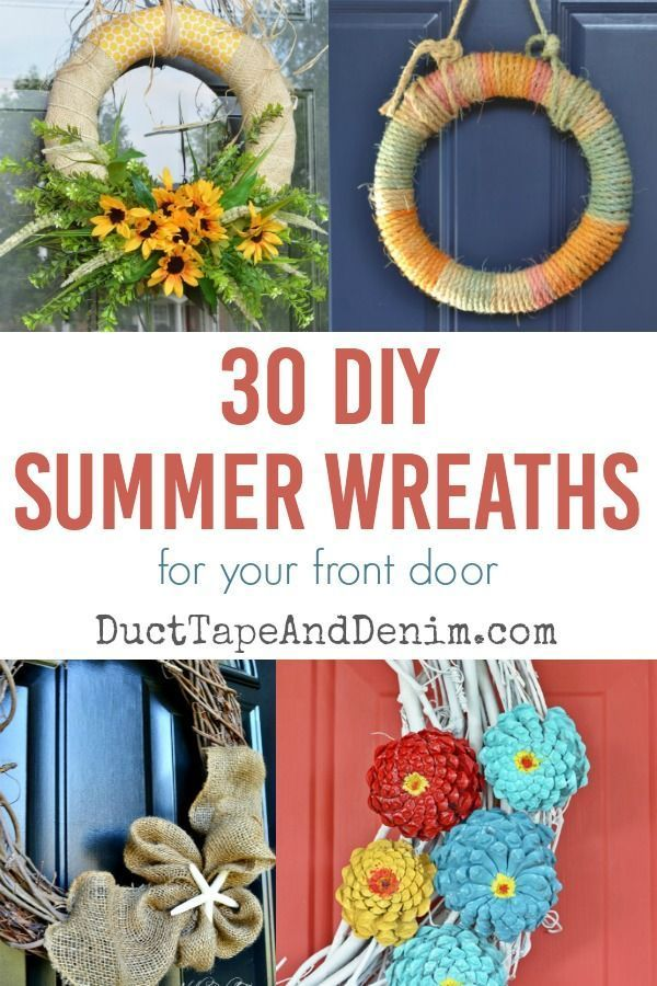 30 DIY summer wreaths to make for your front door | DuctTapeAndDenim.com  #wreath #wreaths #DIYwreath #summerwreaths #doordecor #frontdoor #porch #porchdecor #DIYdecor #diydecor #wreathideas
