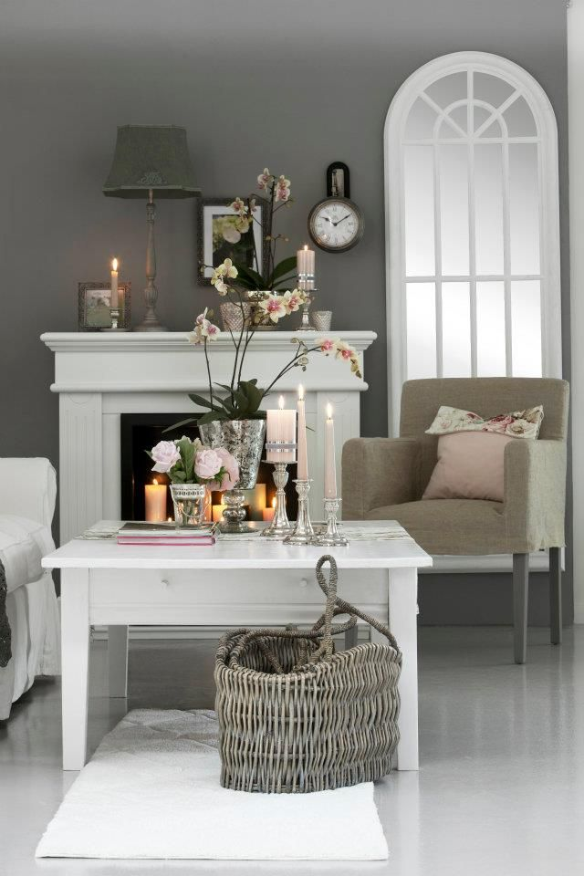 gray and white living room :)