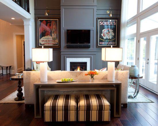 Dark Walnut Wood Floors And Emerald Living Room