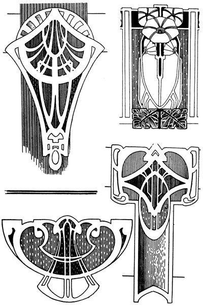 Monochromatic Stencil On Backsplash Using Glossy Paint Arts Crafts Art Nouveau Mucha Stickley Style Art Nouveau Mucha Art Nouveau Design Art Nouveau Pattern