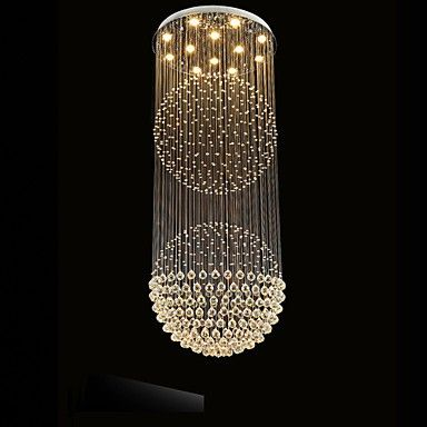 Led Pendant Light Modern Crystal Chandelier 12 Lights Silver Canpoy Clear Crystal Globe Ceiling Lamps Fixtures H210cm Lightingo Co Uk Metal Pendant Light Crystal Pendant Lighting Modern Crystal Chandelier