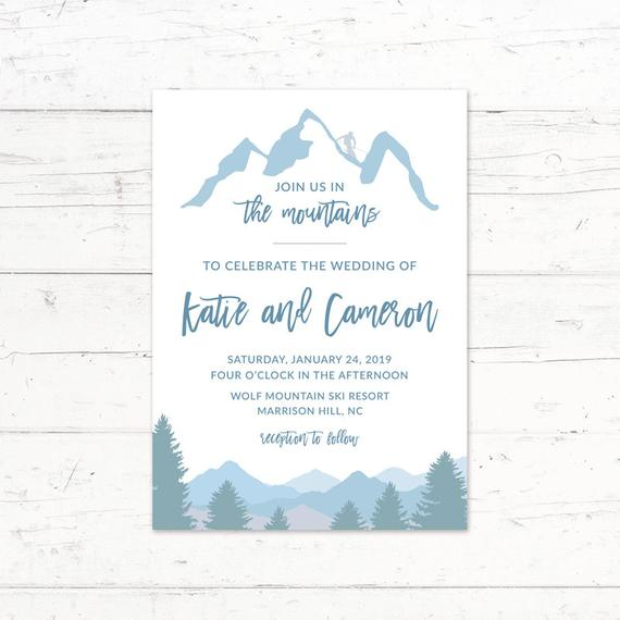 Skiing Mountains Printable Wedding Invitation Suite