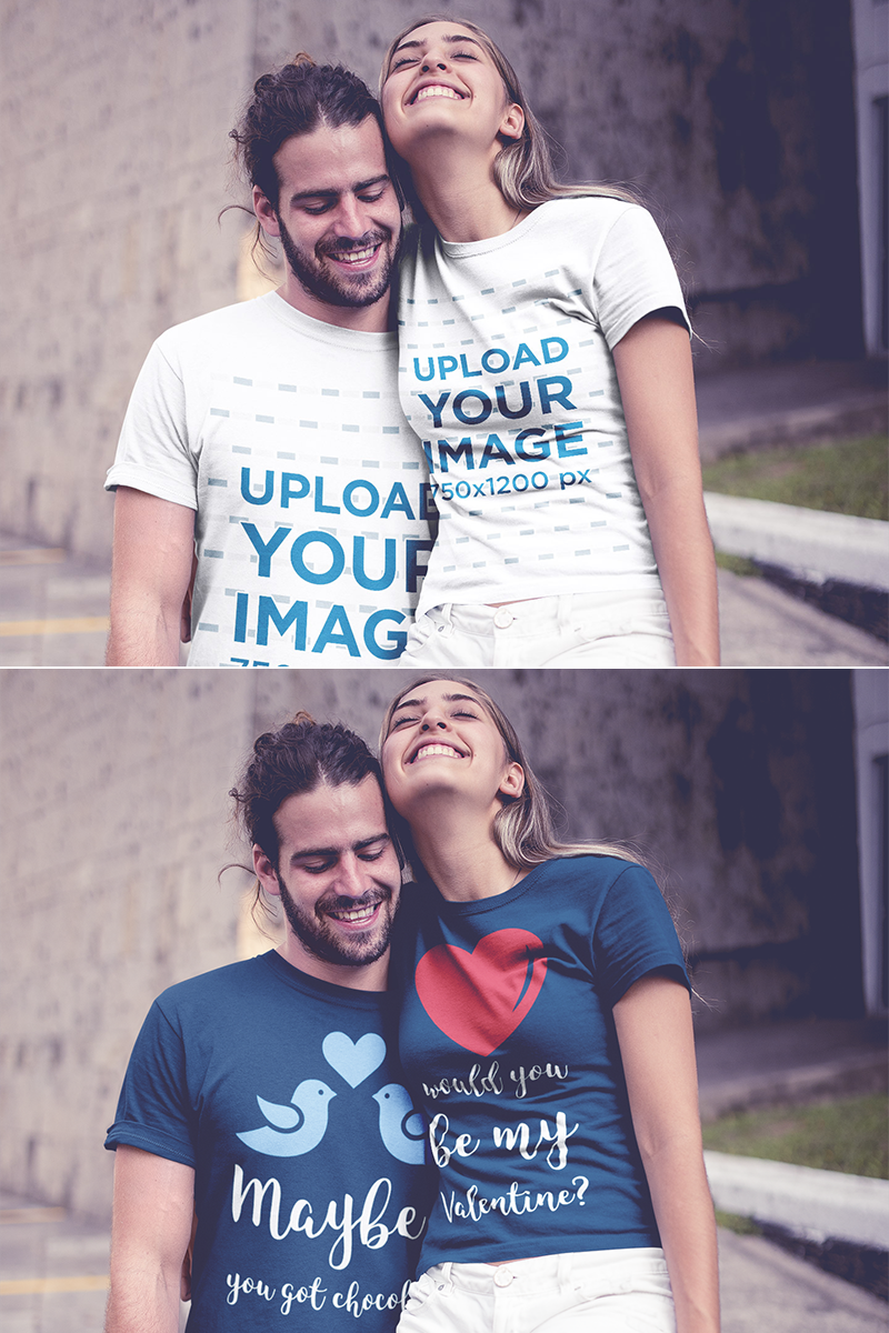 Download Placeit Couple Wearing T Shirts Mockup In An Urban Environment Shirt Mockup Clothing Mockup Hoodie Mockup