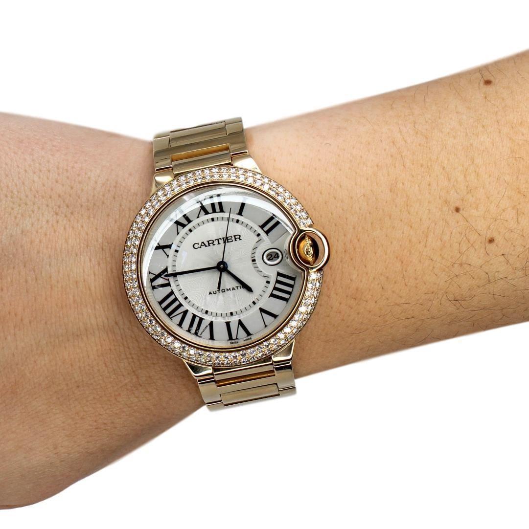 CARTIER Ballon Bleu 42mm 18K Yellow Gold Diamond Bezel Watch WE9007Z3