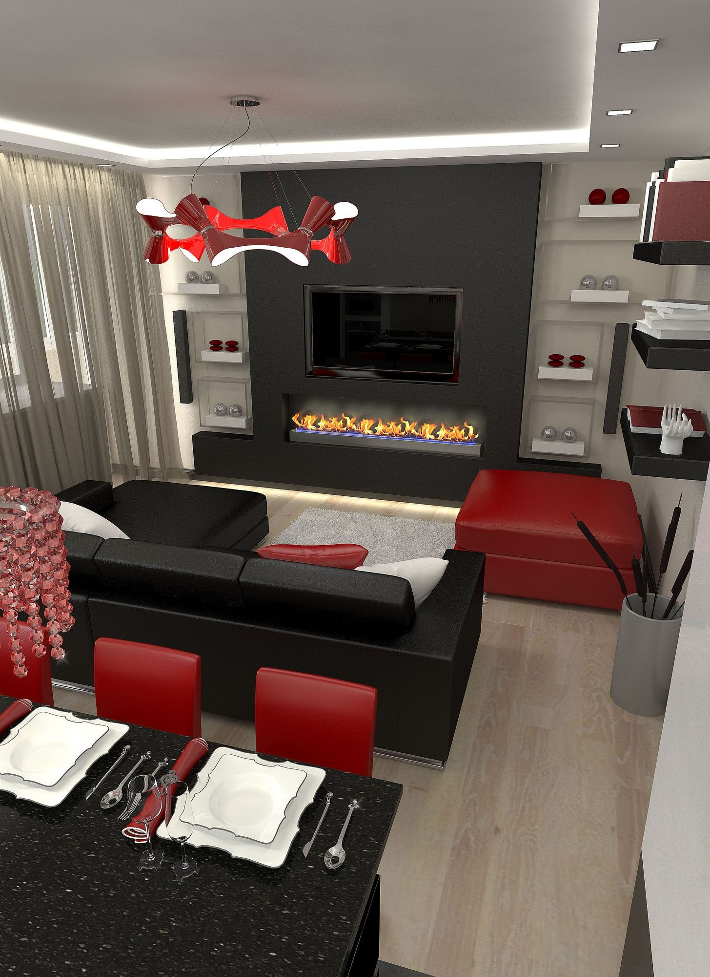 Black And Red Living Room Home Decor Ideas Red Home Design | Houzz ...