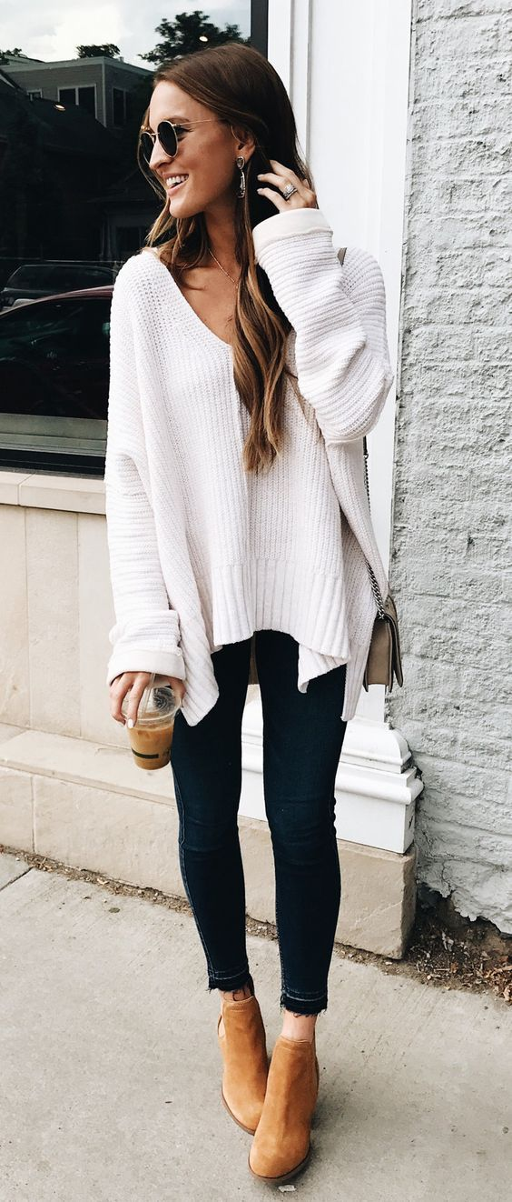 casual deep v neck knit white sweater  simple fall