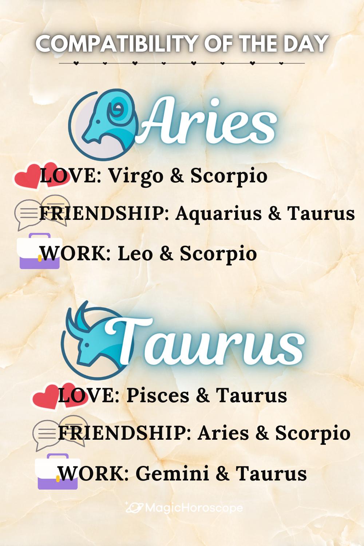 ✨COMPATIBILITY OF THE DAY✨ | Aries & Taurus, your today's Zodiac match🔥 #Horoscope #Horoscopes #Prediction #HoroscopePrediction #MagicHoroscope #Zodiac #Astrology #ZodiacSigns #Aries #Taurus #Gemini #Cancer #Leo #Virgo #Libra #Scorpio #Sagittarius #Capricorn #Aquarius #Pisces #Compatibility #Perfect #PerfectCouple #Love #Friendship #Work