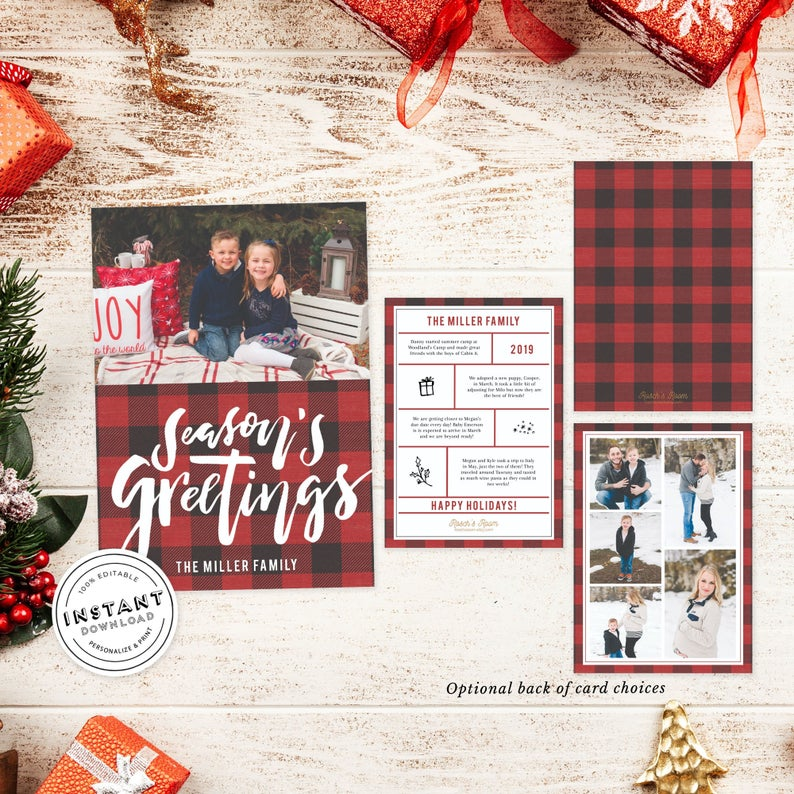 Photo Christmas Card Editable Template Buffalo Plaid Card Family Christmas Card Year In Review Printable Buffalo Check Xmas Card Diy Family Christmas Cards Christmas Photo Cards Christmas Cards