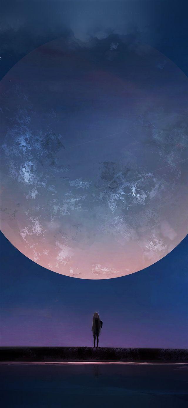 Moon Anime Night Art Illustration Iphone X Wallpaper Night Sky Wallpaper Night Skies Anime Wallpaper Download