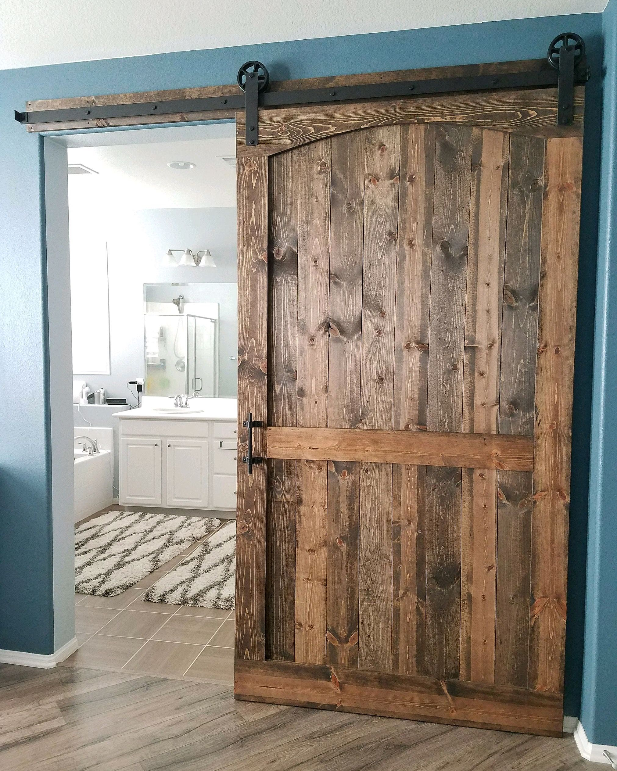 Arched Barn Door With Hardware For A Master Bedroom Bathroom Arched Barn Door Best Bathroom Designs Interior Barn Doors