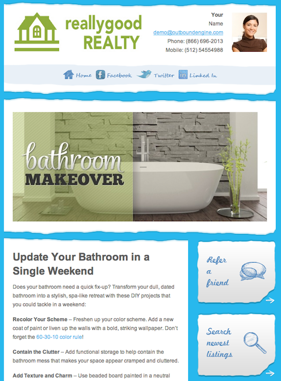 Newsletter Example For Real Estate Agents By OutboundEngine