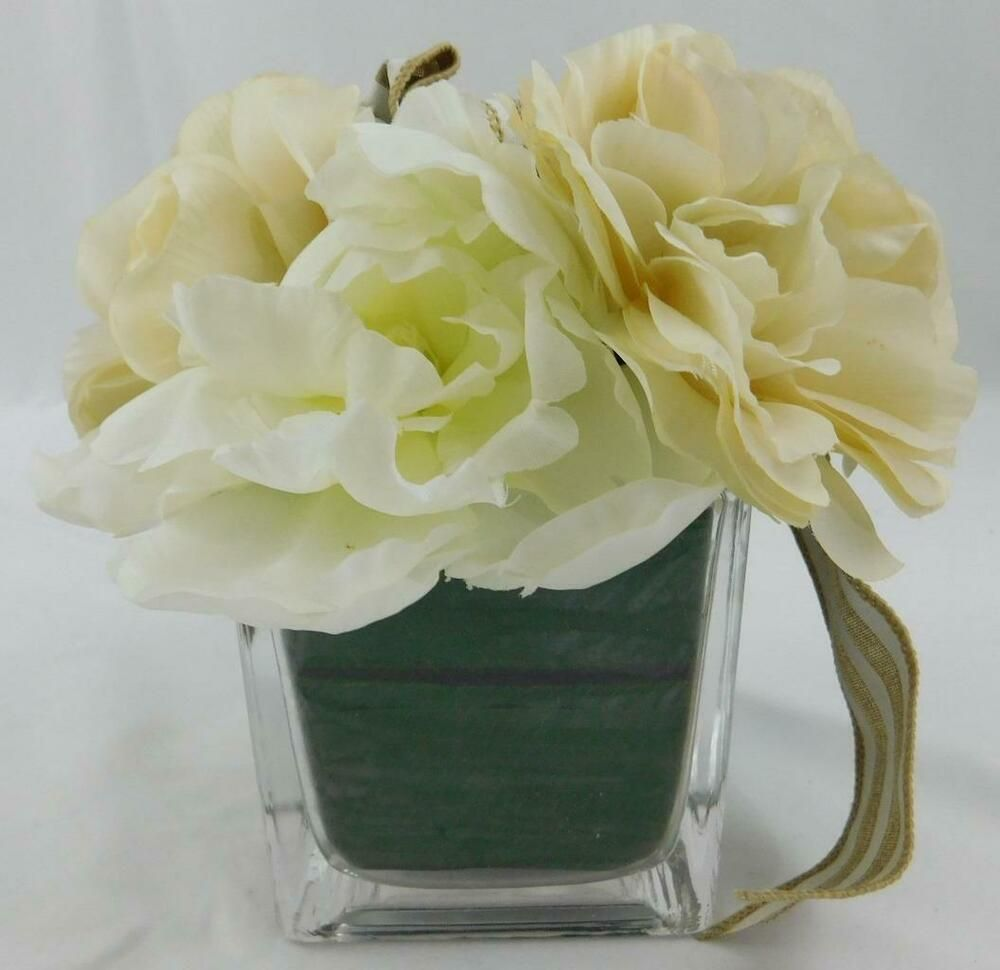 Michaels Floral Plant New White Flowers Floral Clear Square Vase