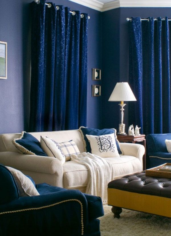 A Bold Statement With Velvet Drapes Curtains Navy Blue Living