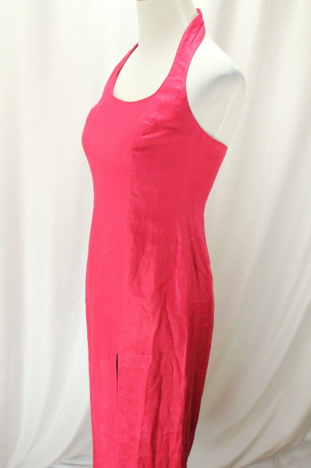 Nice bloomingdaleus women maxi dress red linen size lined