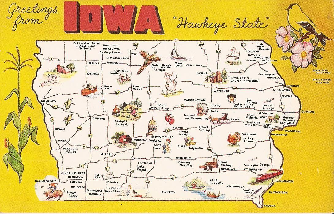 Details About Iowa Map Hawkeye State Corn Gold Finch Wild