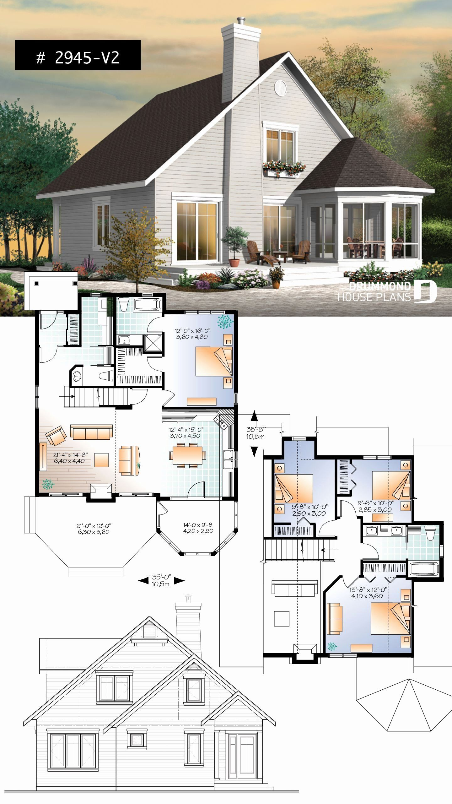 Chalet Style House Plans Lovely Popular Waterfront Home 4 Bedrooms 3 Bathrooms Chalet House Floor Plans House Plans Farmhouse Bedroom House Plans
