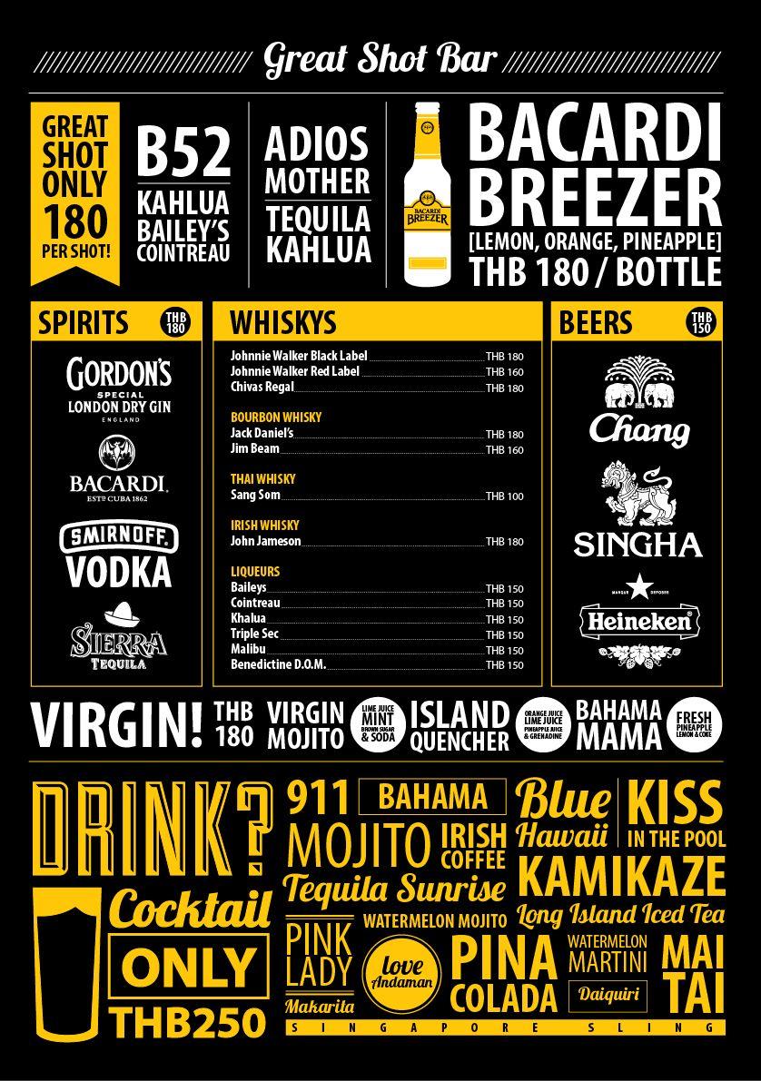 The one of creative drinks menu for GREAT SHOT BAR, Tiffin Mama Restaurant, foto Hotel, Kata Beach, Phuket. #Typographic #Graphic #Drink #Cocktail #Menu #Bar #Restaurant #Cool #Creative