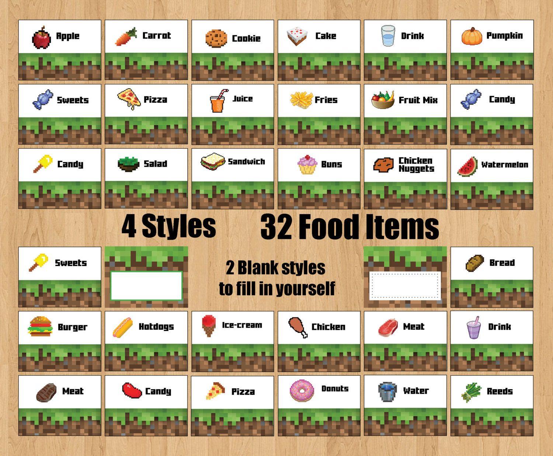 Minecraft Printable 32 Food Labels 2 Blank Por Downloadmyparty