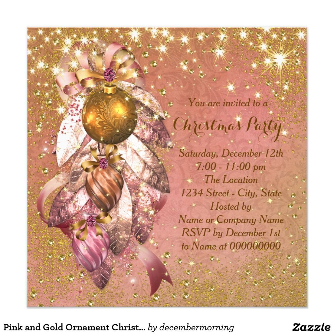 Pink and Gold Ornament Christmas Party Card | Pink, Christmas ...