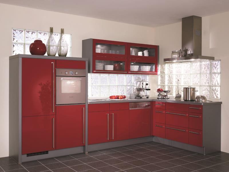 cuisine-rouge-grise-ensemble-cuisine-complete-rouge-gris-poignees - Photo Cuisine Rouge Et Grise