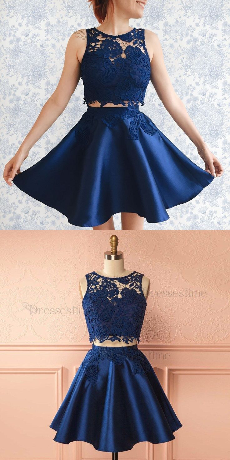 Two Piece A Line Round Neck Dark Blue Satin Short Homecoming Dress