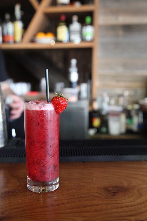 """Merlin"" - bourbon, summer fruit puree, lemon, thyme simple syrup."