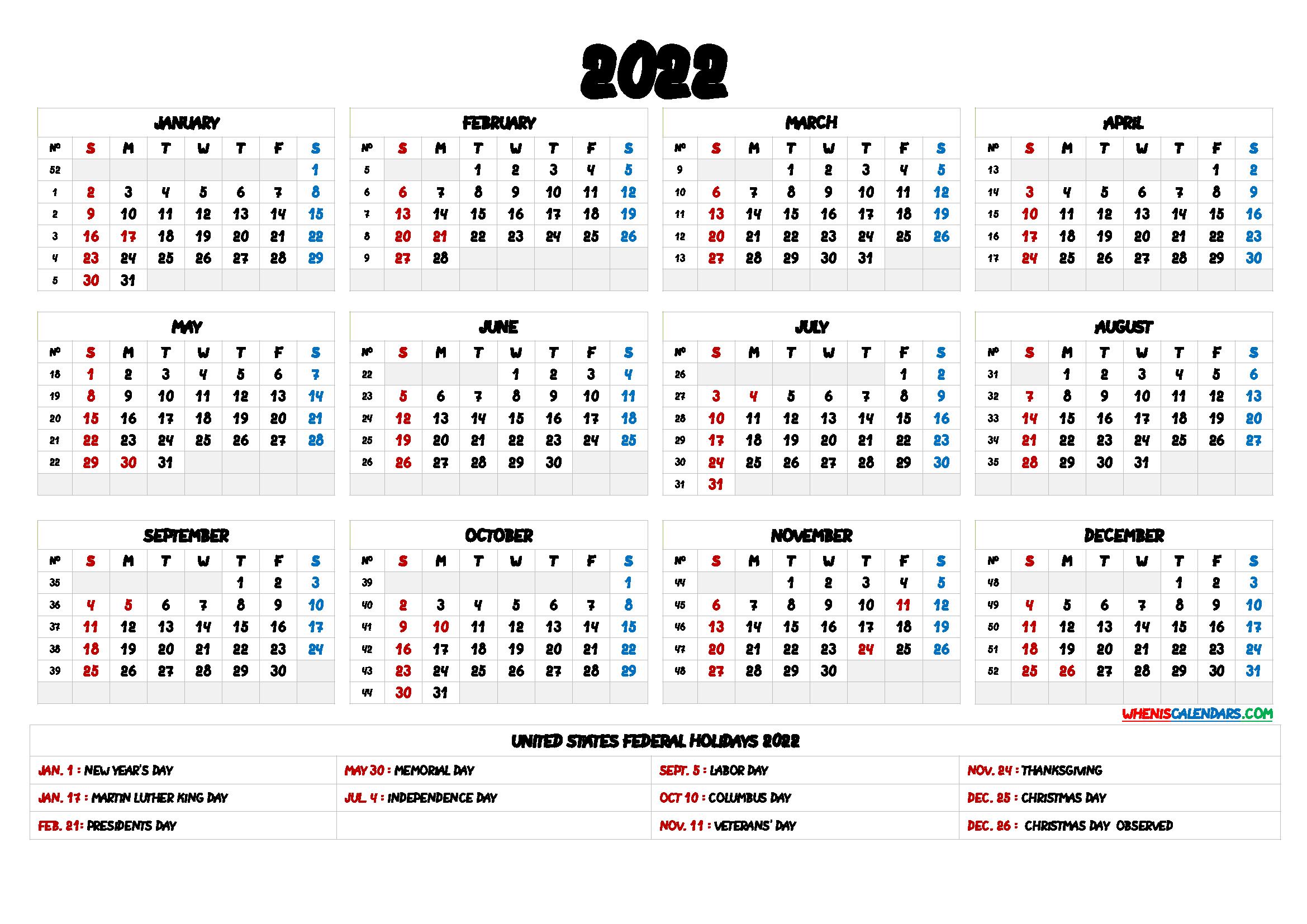 2022 One Page Calendar.2022 One Page Calendar Printable 6 Templates Calendar Printables Free Printable Calendar Printable Yearly Calendar