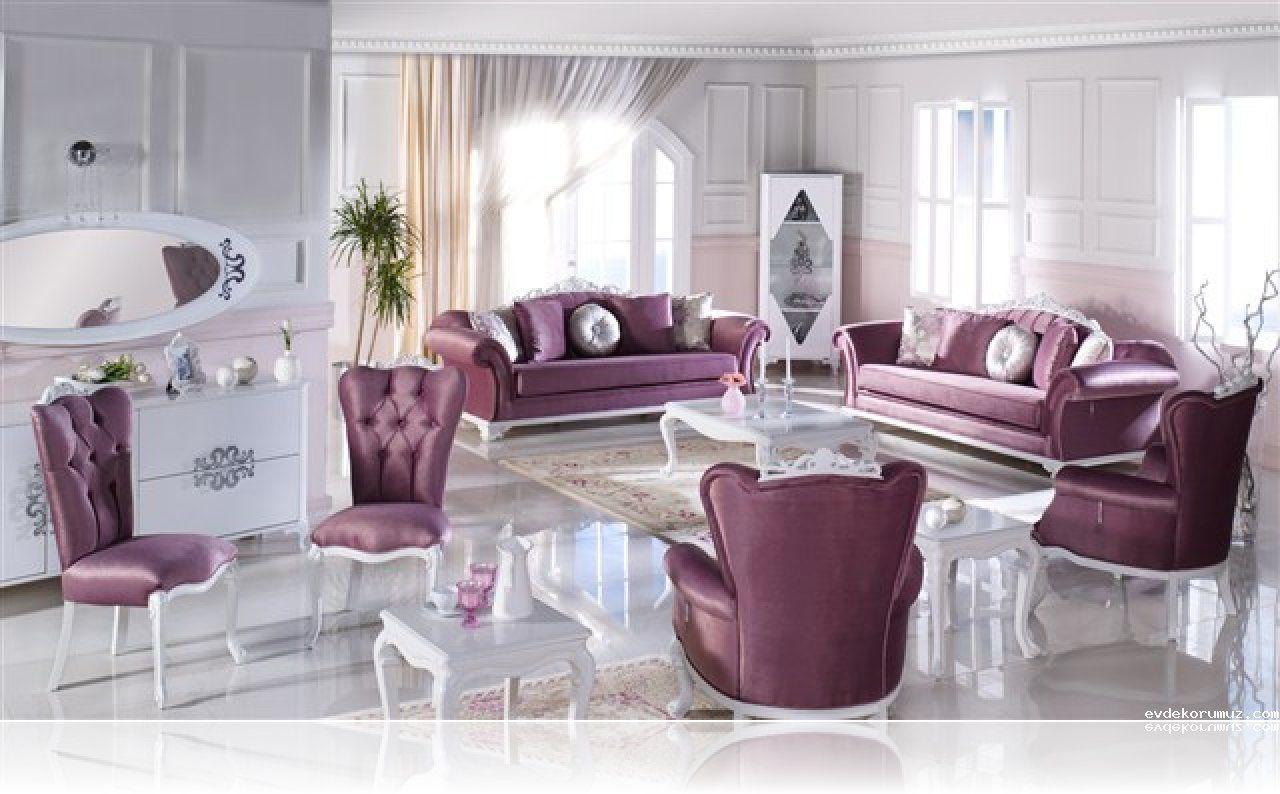 Murdum Rengi Koltuk Takimlari Ev Dekorasyonu Mobilya Fikirleri Oturma Odasi Dekorasyonu Luks Oturma Odalari