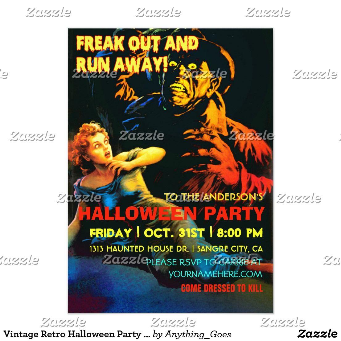Vintage Retro Halloween Party Invitations - 1950\'s Halloween party ...