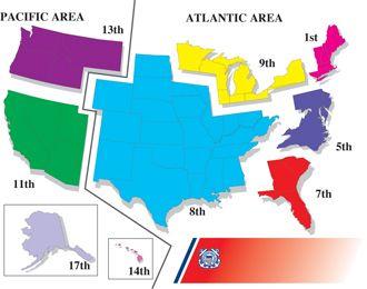 USCG District Map First District D Fifth District D - Us coast guard maps