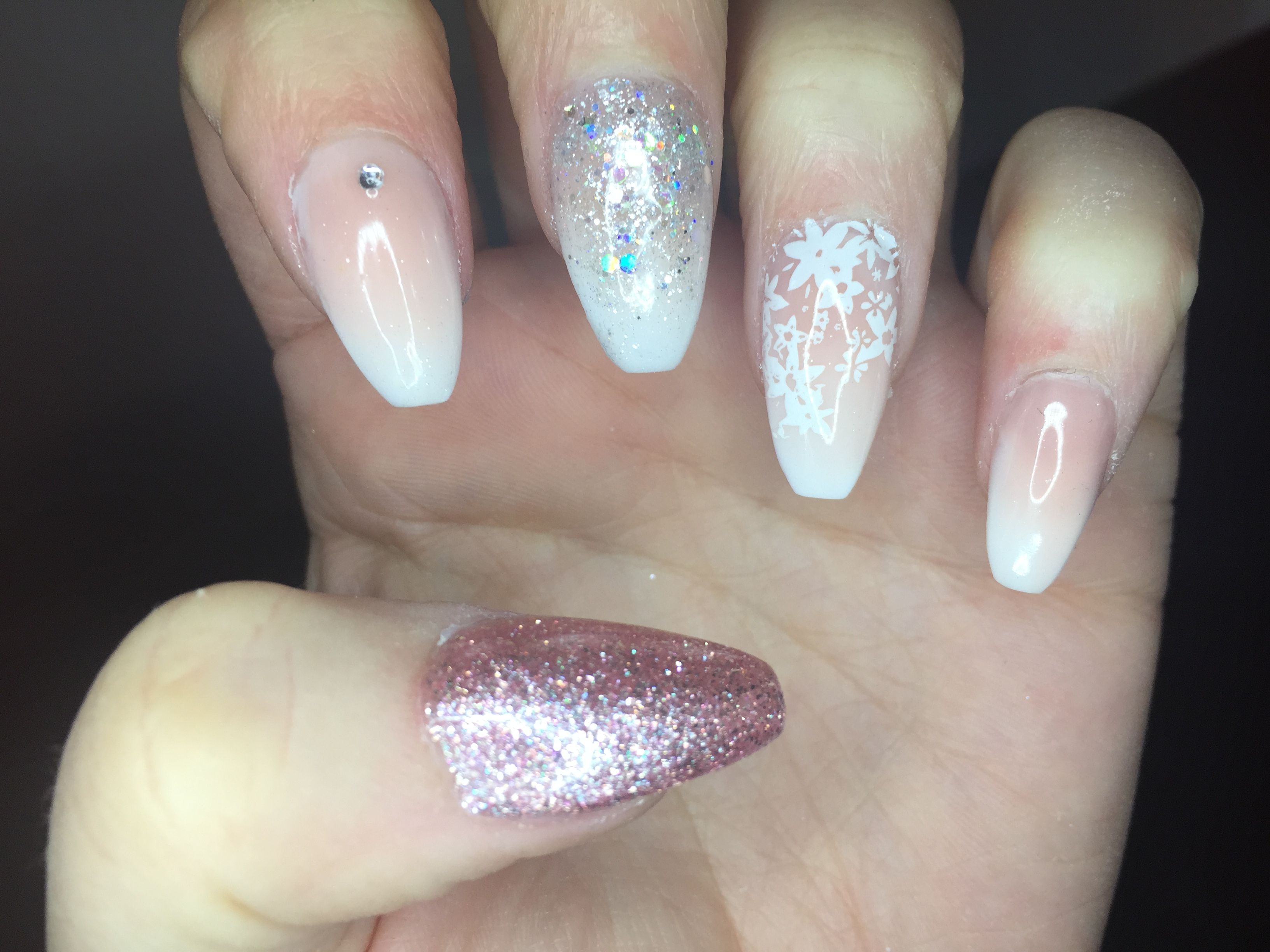 Coffin nails. French ombre. Baby boomer. Halo polish. Diamanté ...