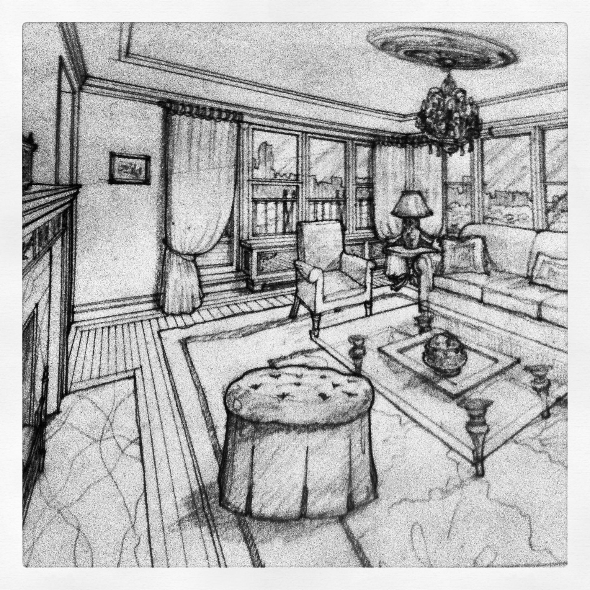Interior pencil drawings living room study architectural drawings pencil drawings architecture drawings graphite