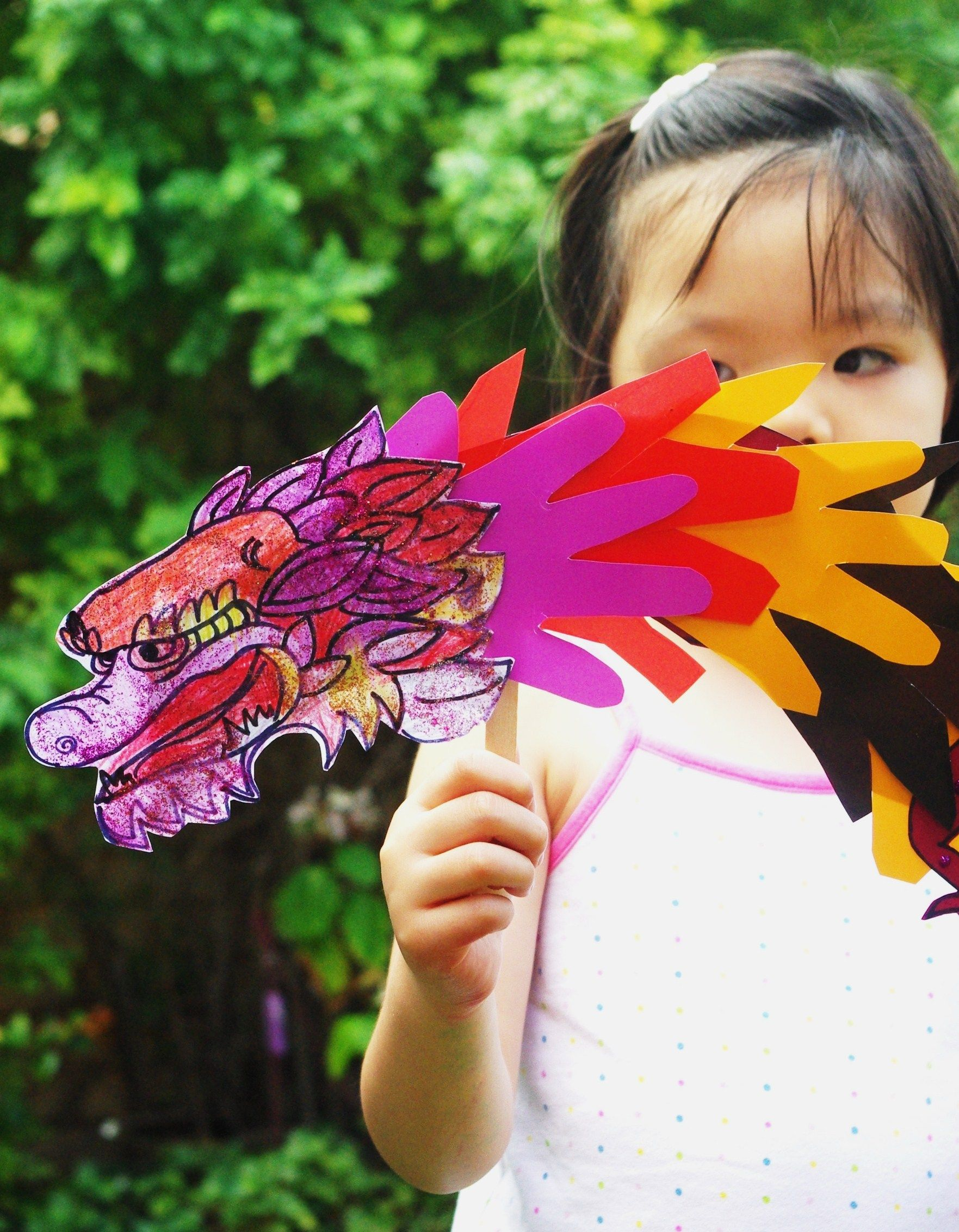 Chinese New Year Craft Handprint Dragon Puppet