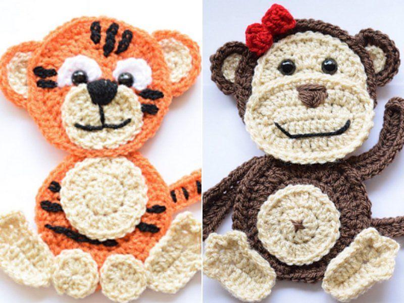 Fun Animal Appliques Free Crochet Patterns #crochetapplicates