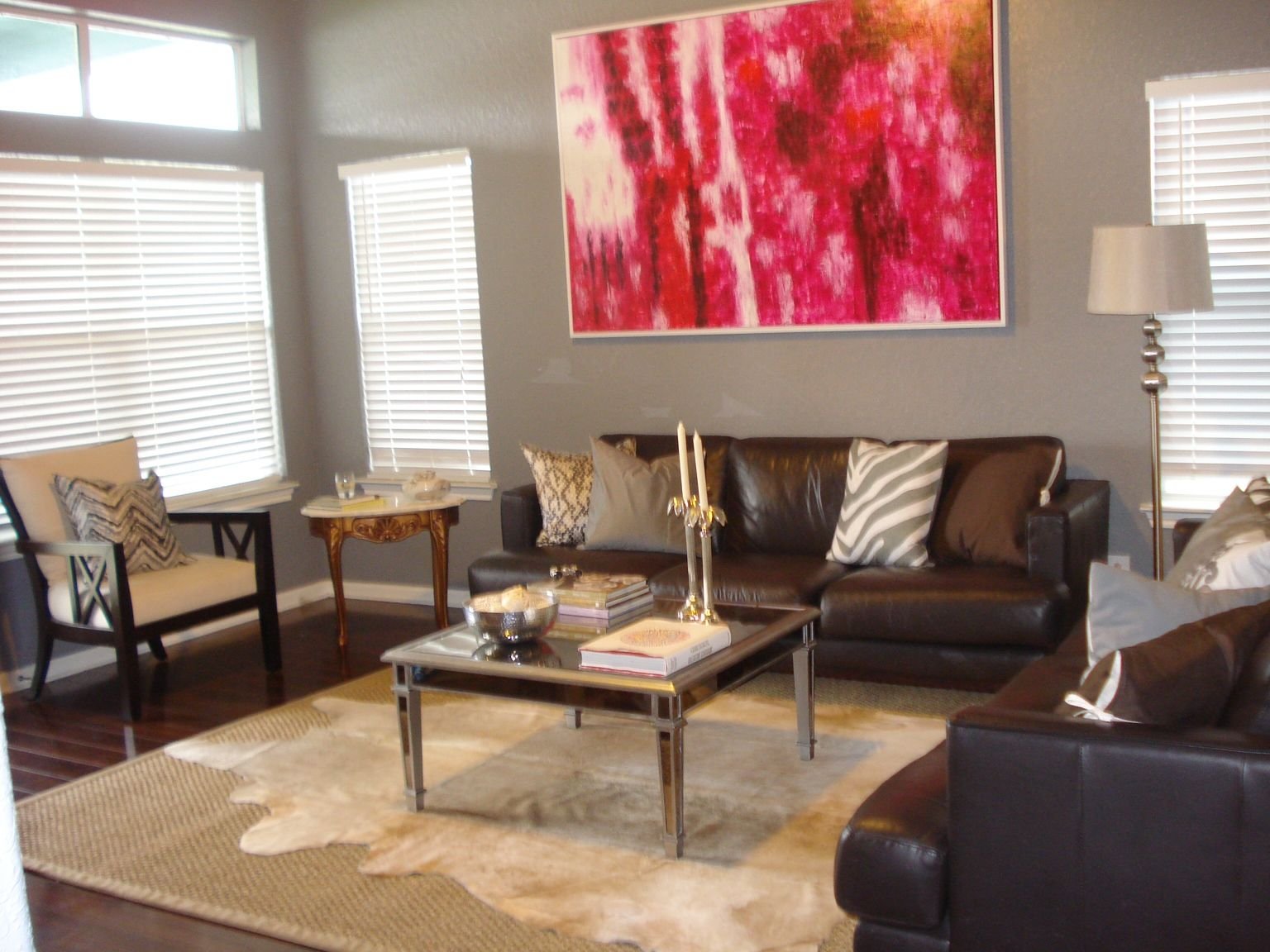 Embellish Your Home With Awesome Cowhide Rugs Alluring Creamy Rug In Winsome Lliving Room Grey Wall Painting And Brown Leather Sofa Also