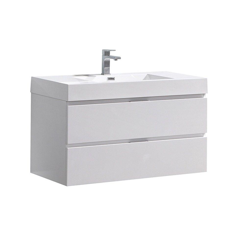 Fresca Valencia 40 Glossy White Wall Hung Modern Bathroom Vanity