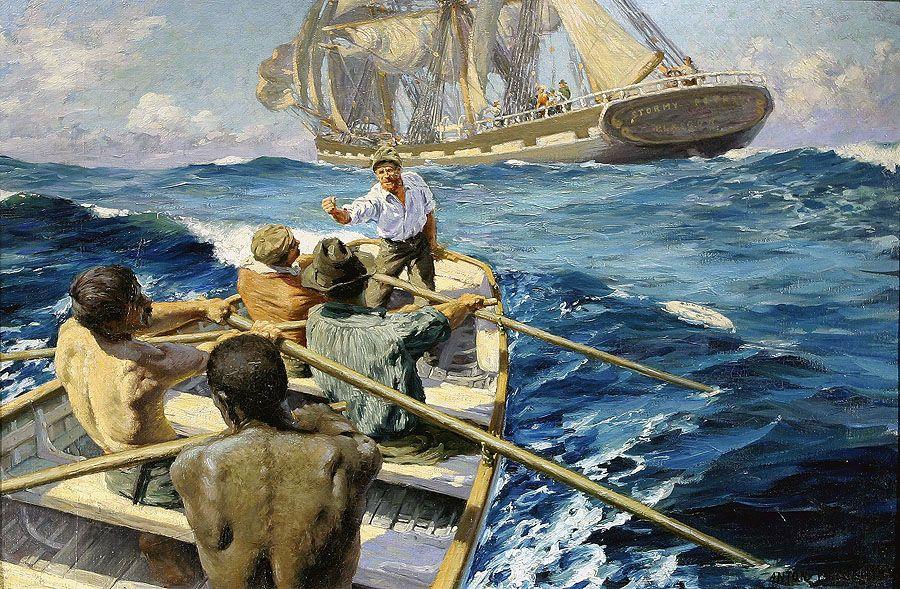 Man Overboard! Anton Otto Fischer | Marine art, Tall ships ...