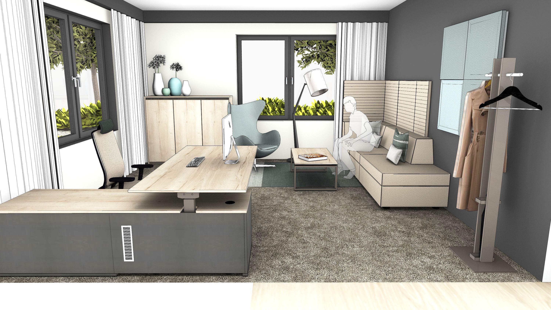 einzelb ro ergonomisch der elektromotorisch h henverstellbare schreibtisch mit integriertem. Black Bedroom Furniture Sets. Home Design Ideas