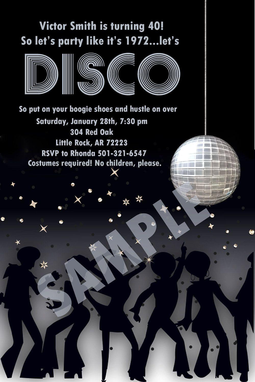 Disco Party Digital Invitation idea | 70s Theme Parties | Pinterest ...