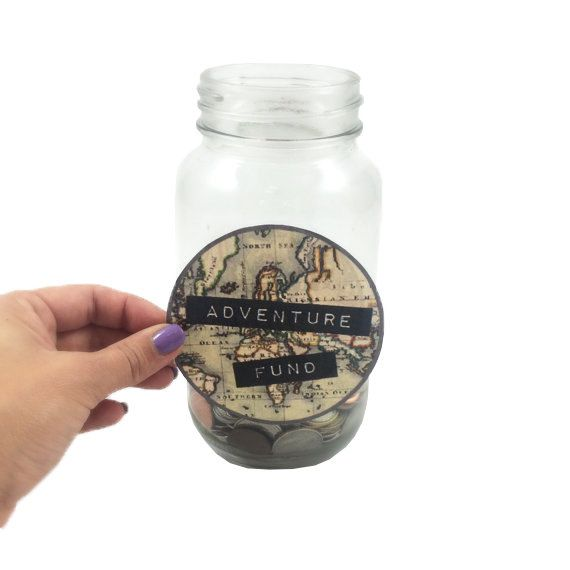 Travel label adventure fund instant download create your own travel adventure fund label digital world map savings jar gumiabroncs Gallery