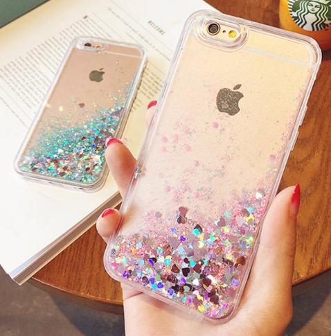 glitter heart coque iphone 6