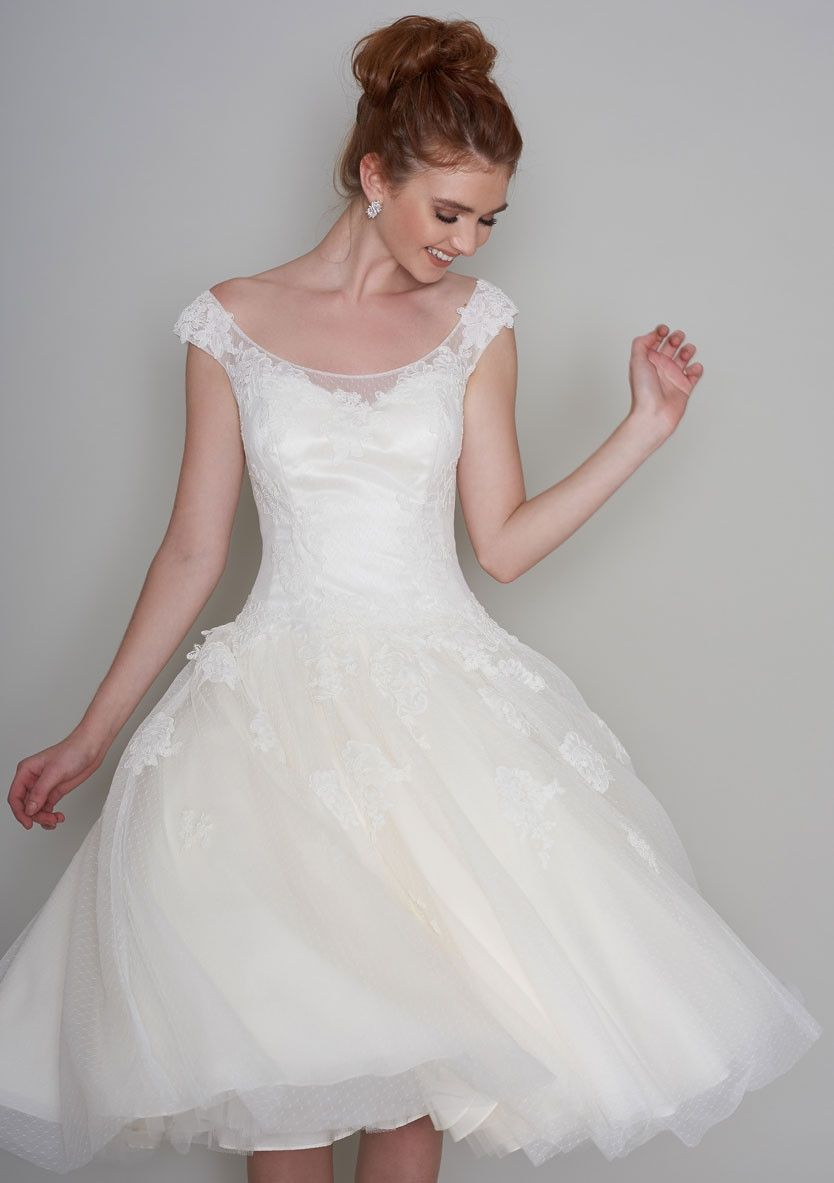 Winnie tea length wedding dress with dropped waist dress