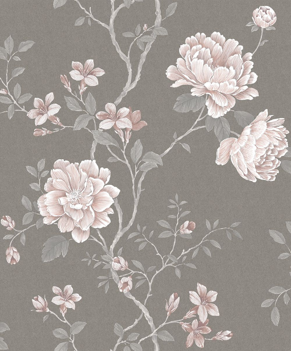 Floral Trail By Galerie Grey Pink Wallpaper G45305 Grey