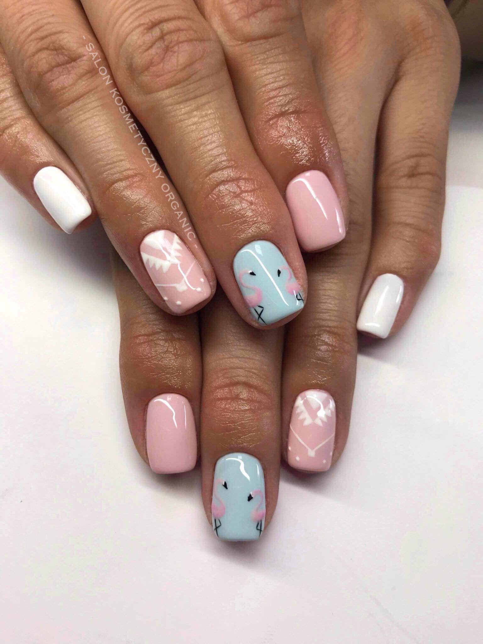 Manicure Hybrydowy Delikatny Roz Lato Flaminga Delikatne