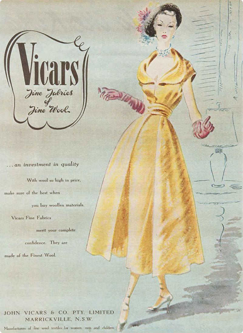 Vicars fine fabrics of fine wool | 1950s advertisement | { Vintage ...