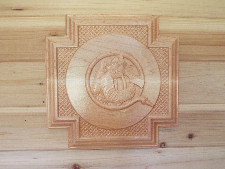Gift fireman decor firefighter gift for fireman wood carving