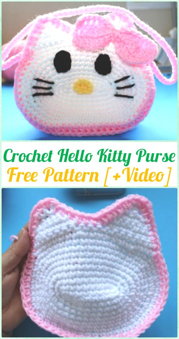 Crochet Hello Kitty Purse Free Pattern & Video - Crochet Kids Bags ...