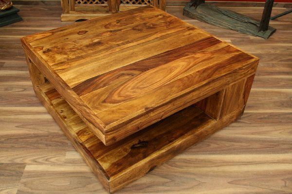 Couchtisch, Tisch, Holz, Massiv, Honig, Braun, Landhausstil, 90x90x40