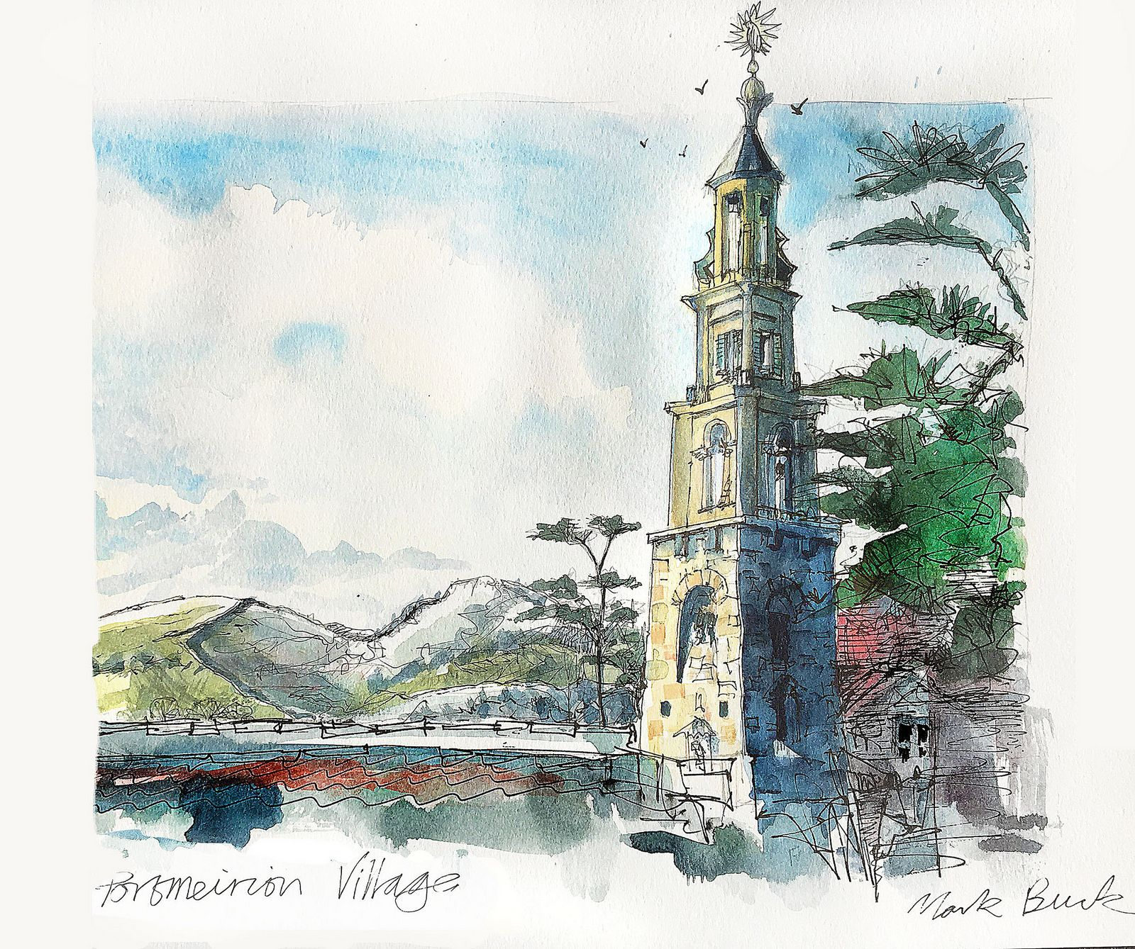 https://flic.kr/p/FY45aV | Portmeirion clock tower | A sketch from life of the clock tower in Portmeirion Village. Drawn on my lovely A3 Moleskine sketchbook.